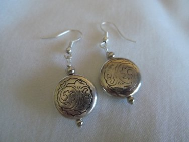 Silver Earrings with Engraved Print