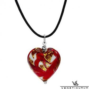 murano glass multicolored heart pendant & viscose necklace