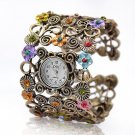 Antique Gold Flower and Crystal Embellished Cuff Bracelet Watch