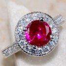 Art Deco Ruby & White Topaz Ring Size 8