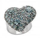 From Pilgrim Skanderborg, Denmark a Crystal Heart Ring in Silver