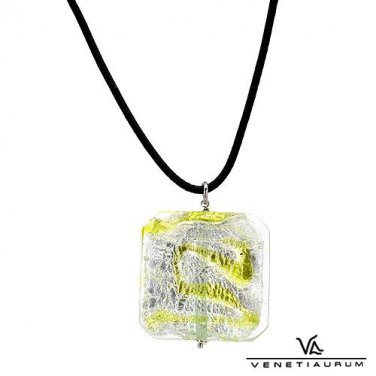 Two toned murano glass pendant crafted in sterling silver