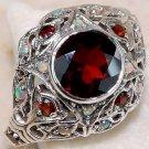 Vintage Fire Garnet & Fire Opal Sterling Silver Ring