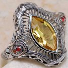 Vintage Citrine & Fire Opal Filigree Ring sz 6