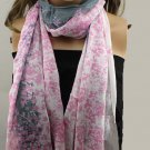 Ladies Pink White and Gray Floral Print Scarf