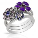 3 Rings in one - Genuine Crystals - Flower Design from Pilgrim Skanderborg Denmark