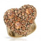 Heart Shaped Ring With Genuine Golden Crystals