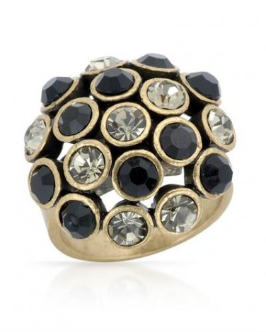 Genuine Black & White Crystal Cocktail Ring