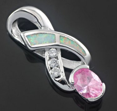 Pink Topaz, White Fire Opal & White Topaz Pendant in Sterling Silver