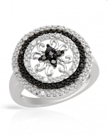 Genuine Black and White Diamond Ring Size 7