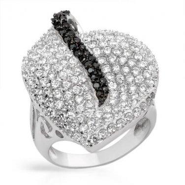 Genuine Onyx & Swiss Diamond Ring Size 8