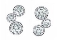 Sterling Silver 3 Stone Bezel Set Swiss Diamond Earrings