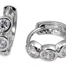 3 Stone Bezel Set CZ Diamond Huggie Hoop Earring