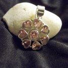 Pink Kunzite Hearts Pendant in Sterling Silver