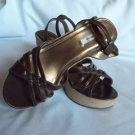 Brown-Bronze Wedge Sandals By Metro7 Size 8.5