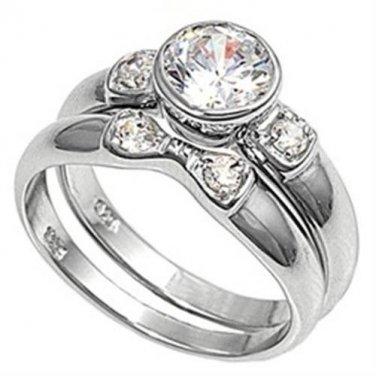 Sterling Silver Bezel Set Cubic Zirconia Rings Size 7