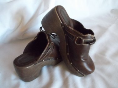 Brown Studded Clogs Size 8.5