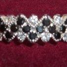 Chevron Style Black & White CZ Diamond Ring in Sterling Silver