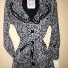 Black Floral Lace Print Ruffle Collar Knit Jacket Size S