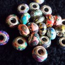 5 Pc. Set of Silver Cored Polymer Clay Beads
