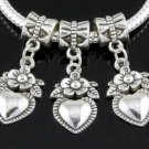 7 Pc. Set of Dangling Silver Heart & Flower Charms
