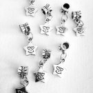4 Pc. Set of Dangling Silver Star Charms