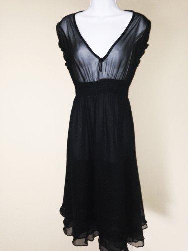 Black Empire Waist Cap Sleeve Dress