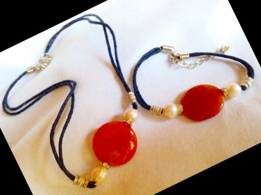 Red Strip Stone Necklace and Bracelet