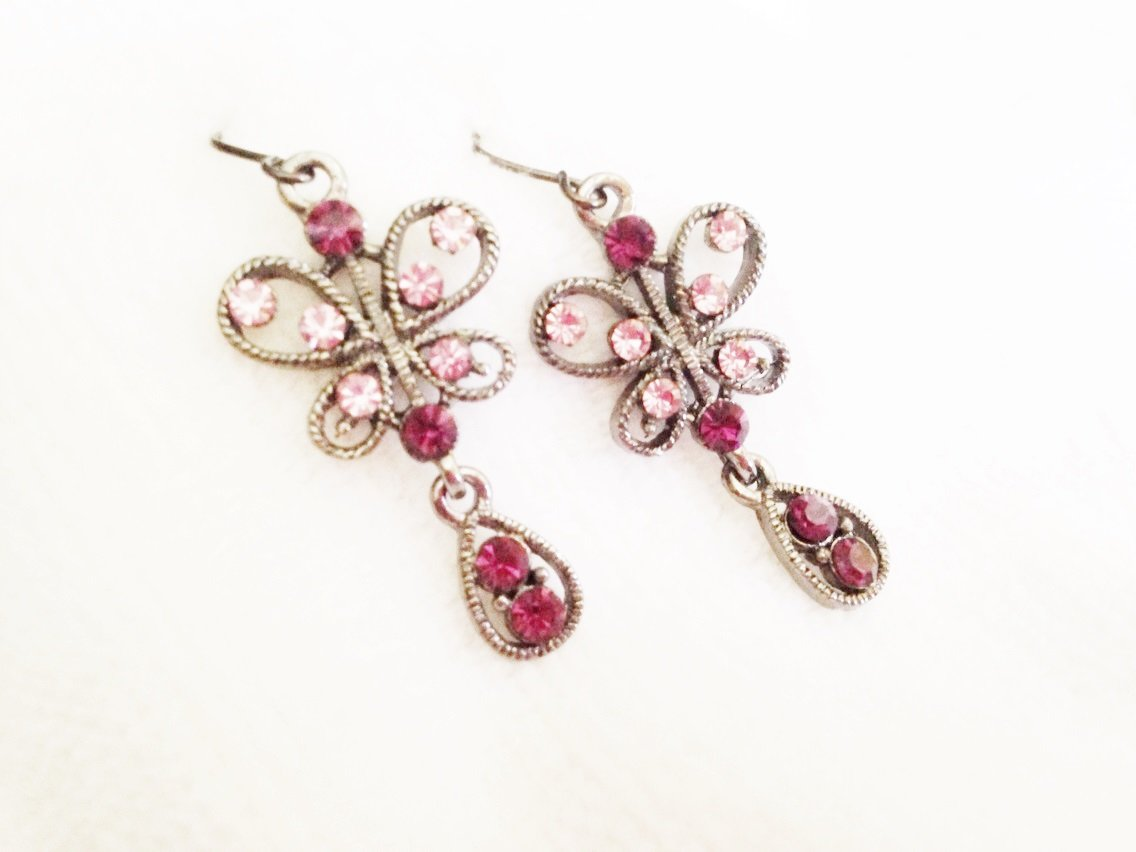 Pink Crystal Butterfly Earrings