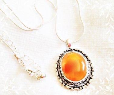 Orange Stone Pendant in Silver