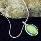 Green Stone Pendant in Silver