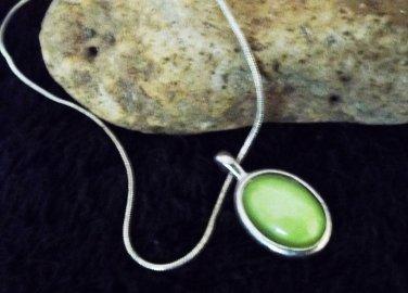 Green Stone Pendant in Silver