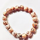 Pink & White Fire Agate Bracelet