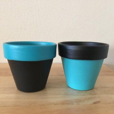 Set of 2 Custom Painted Terracotta Pots - Turquoise/Black