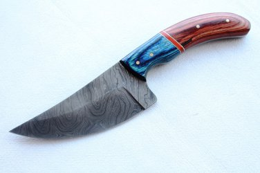 139 FITWW 24 CM Full Tang Real Damascus Steel Blade and Handle with Pakka Wood with Leather Sheath
