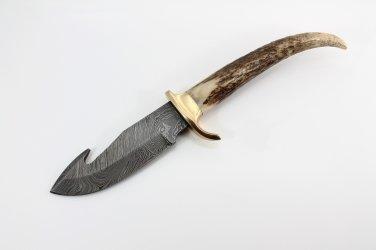 Rare HandMade Stag Horn Handle Damascus Steel Blade Knife + Hand Made Leather Sheath 170FIS
