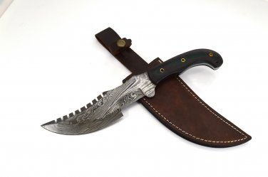 Full Tang Damascus Steel Hand Made Fixed Blade Knife + Genuine Leather Sheath