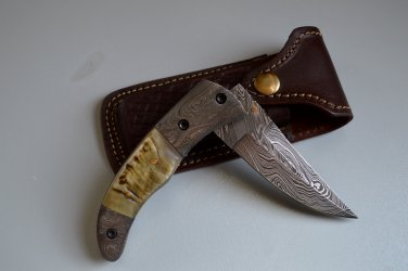 193 FO Damascus Folding Blade Handle with RAM Horn & Damascus Bolsters and Leather Sheath