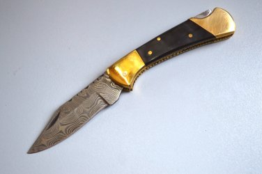 194 FO Damascus Folding Blade with Bull Horn & Brass Bolsters and Leather Sheath