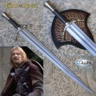 As In Lord Of The Rings LOTR Boromir Sword with Wall Plaque