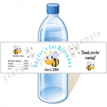 BUMBLE BEE Personalized BABY SHOWER Water Bottle Labels WATERPROOF BIRTHDAY