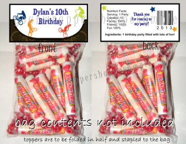 Personalized BMX BIKES Birthday Party Favors Goodie Bags & Toppers Supplies