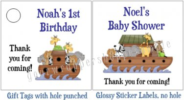 Personalized NOAH'S ARK Favor Bag TAGS or Sticker LABELS Unique Party Supplies