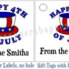 Personalized 4TH OF JULY Favor Bag TAGS or Sticker LABELS Unique Party Supplies