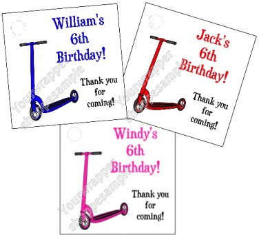 Personalized SCOOTER Birthday Favor Bag TAGS Unique Party Supplies PINK RED BLUE