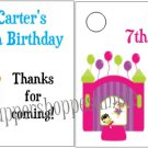 Personalized BOUNCE HOUSE Birthday Favor Bag TAGS Unique Party Supplies