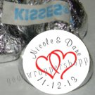 108 Personalized WEDDING DOUBLE LINKED HEARTS Kiss Labels Favors Candy Wrappers