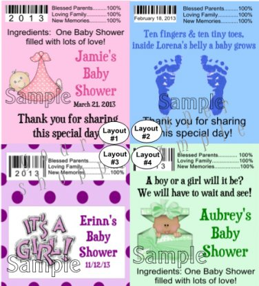 Personalized BABY SHOWER BOY GIRL Chap Stick Lip Balm Labels Party Supplies