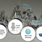 Personalized ASTRONAUT ALIEN UFO Kiss Labels Favors Birthday Party Supplies