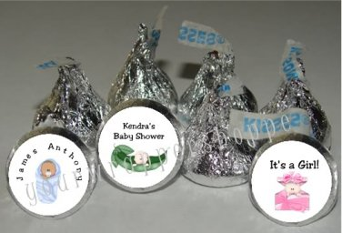 Personalized BABY SHOWER Kiss Labels Candy Wrappers Unique Party Supplies Favors